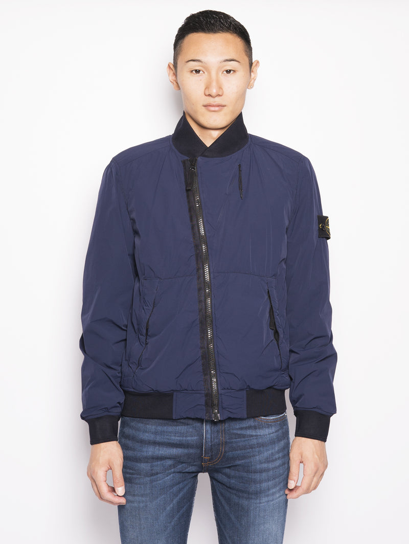 STONE ISLAND-Bomber in Nylon Stretch Traspirante 43428 Blu-TRYME Shop