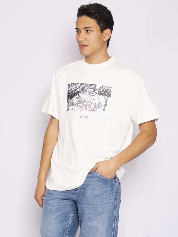 THROWBACK-T-Shirt con Stampa Basket Bianco-TRYME Shop