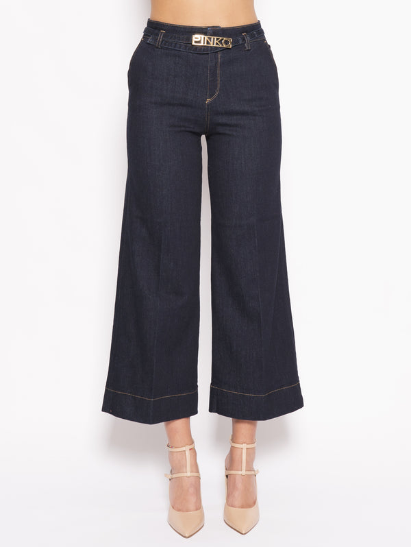 PINKO-Pantalone Denim Twill Stretch Peggy Blu-TRYME Shop