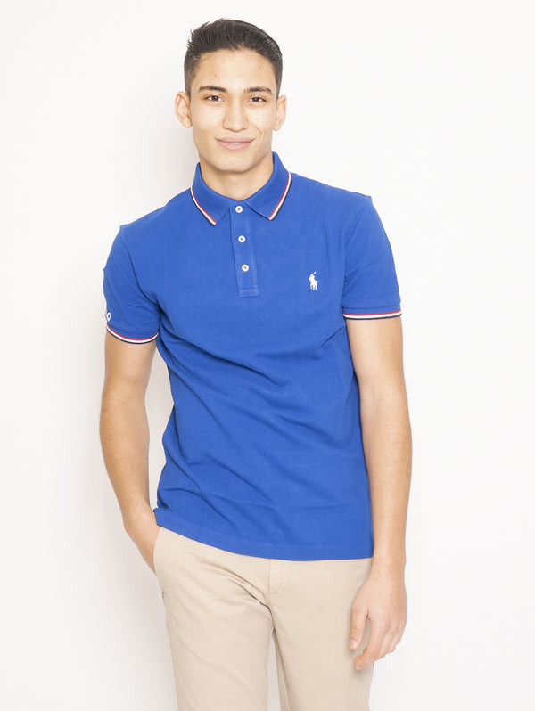 RALPH LAUREN-Polo in Cotone Custom Slim Fit Blu-TRYME Shop