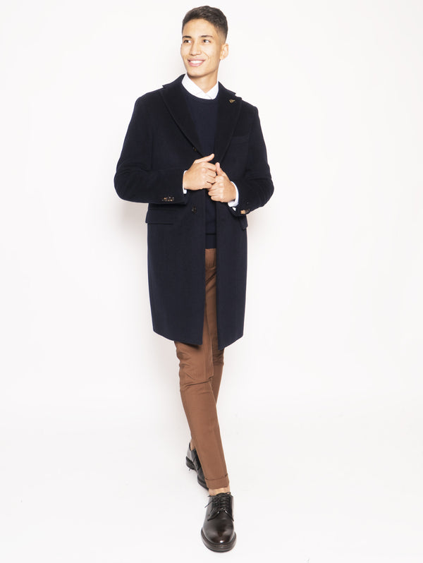 PAOLONI-Cappotto in Cashmere Blu-TRYME Shop