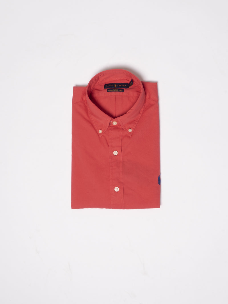 RALPH LAUREN-Camicia Slim Fit Rosso-TRYME Shop