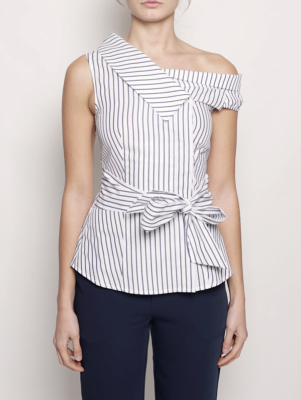 PINKO-Top a righe in popeline Blu / Bianco-TRYME Shop