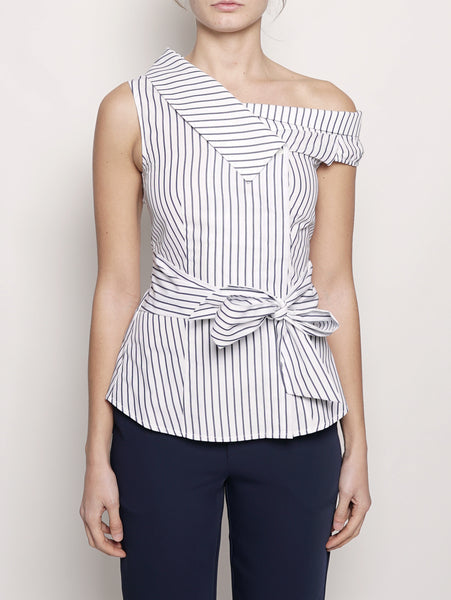 Top a righe in popeline Blu / Bianco Pinko TRYMEShop