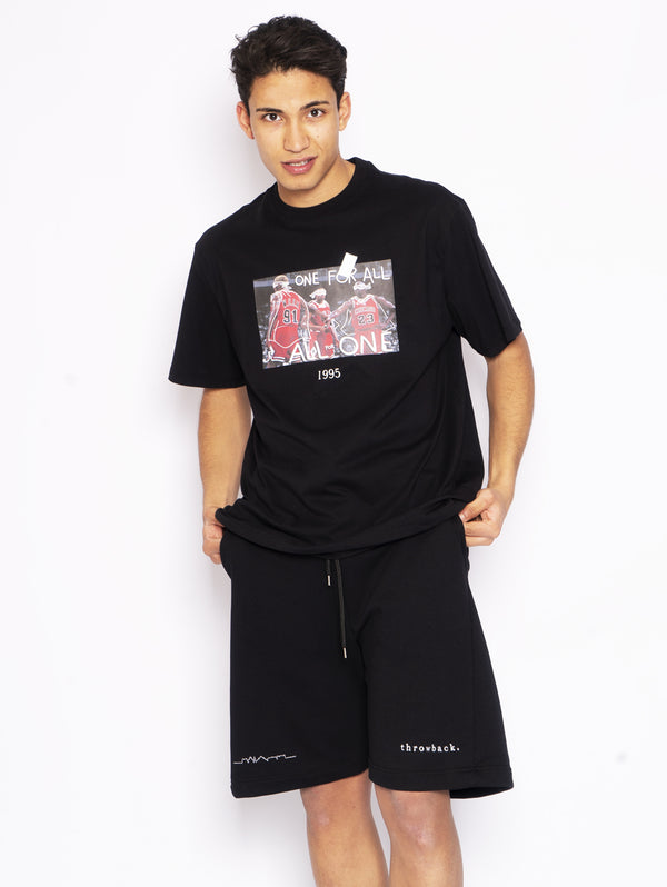 THROWBACK-T-Shirt con Stampa Chicago Bulls Nero-TRYME Shop