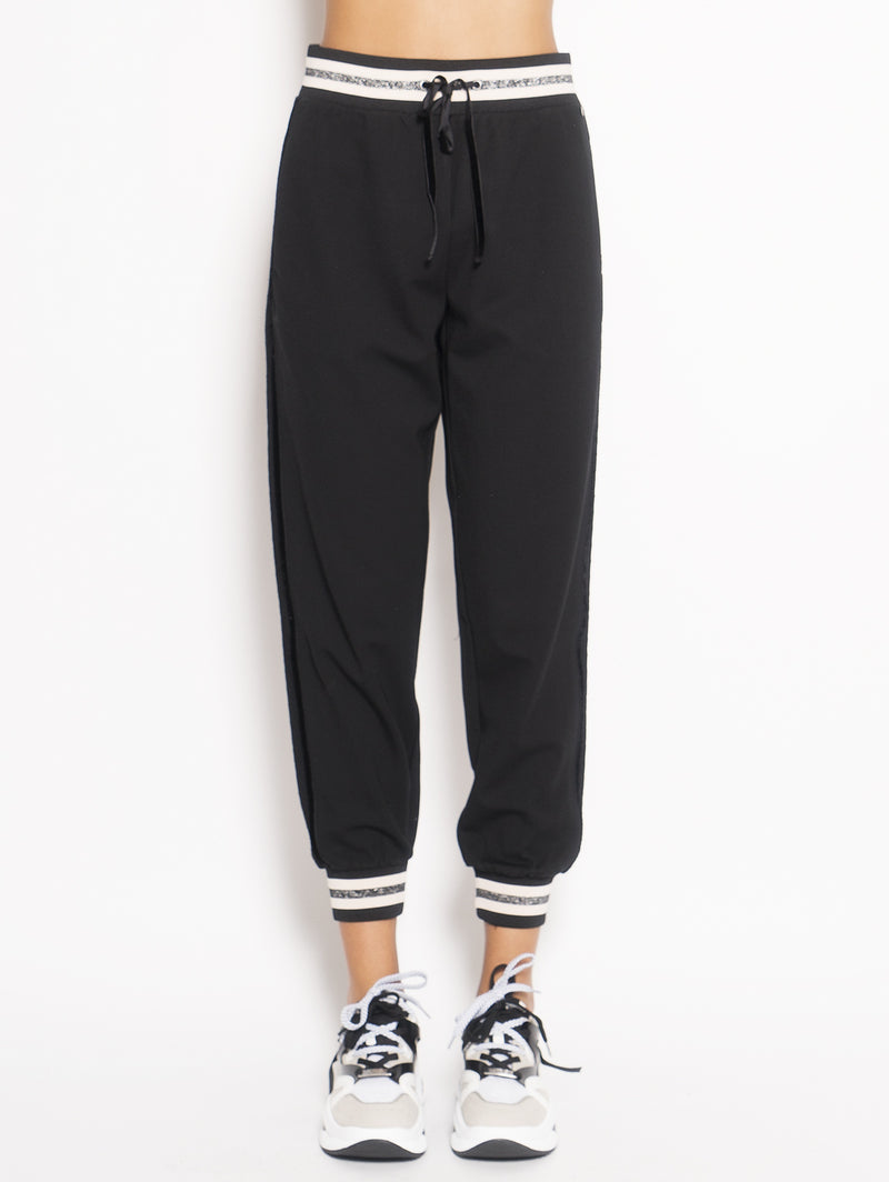TWIN SET-Pantalone Jogging con Pizzo Nero-TRYME Shop