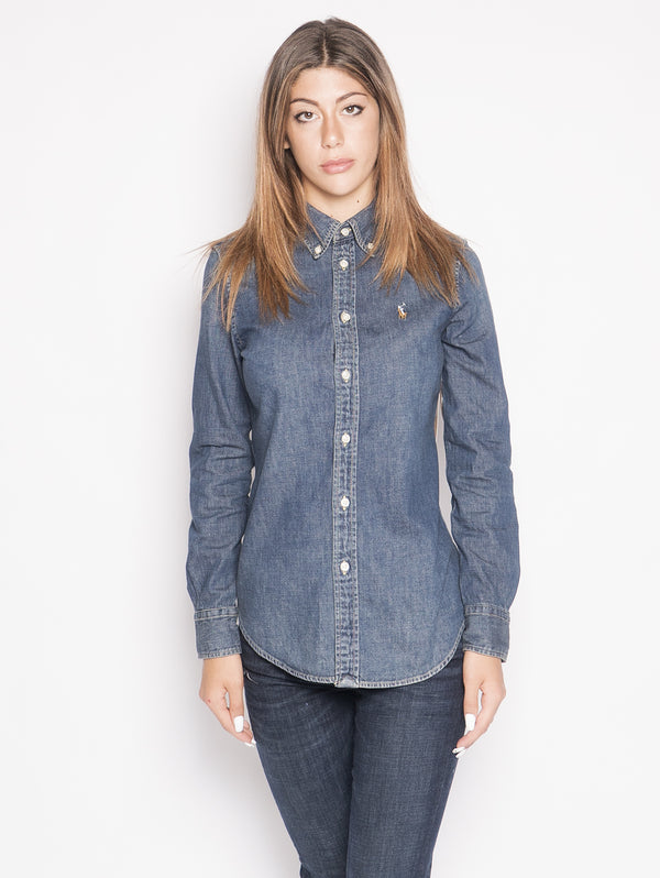 RALPH LAUREN-Camicia in Denim Blu-TRYME Shop