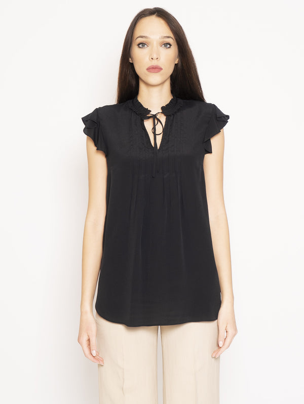 TWIN SET-Blusa con Volant Nero-TRYME Shop