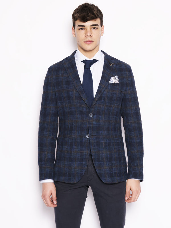 Jacket with Blue Check Pattern