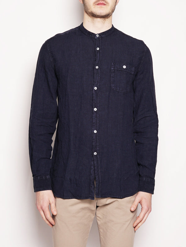 WOOLRICH-Camicia in Lino Blu-TRYME Shop