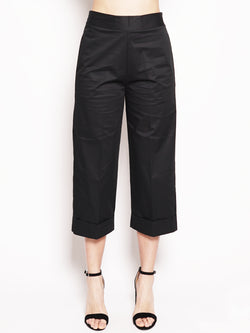 ALPHA STUDIO-Pantalone Cropped Nero-TRYME Shop