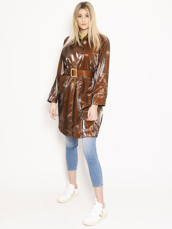OOF-Trench Effetto Glossy Marrone-TRYME Shop