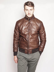 Bomber in pelle e piumino reversibile Marrone