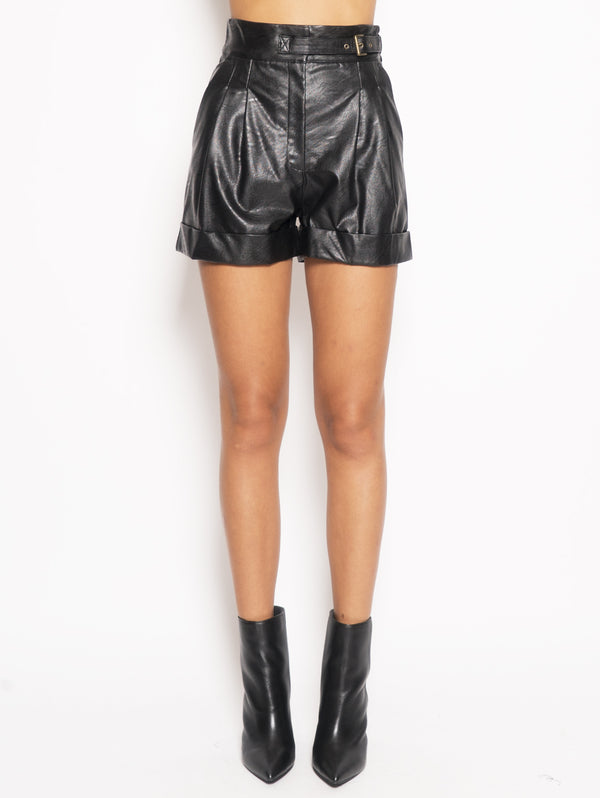 TWIN SET-Shorts in Similpelle Nero-TRYME Shop