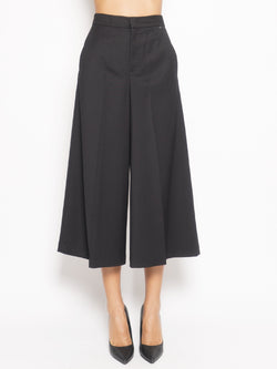 TWIN SET-Pantaloni Cropped Nero-TRYME Shop