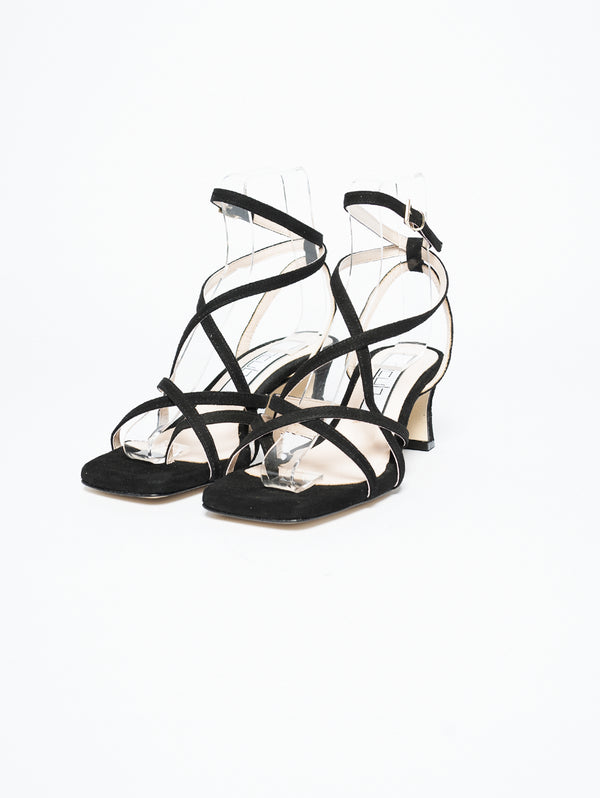 Sandals with Crossed Bands Black
