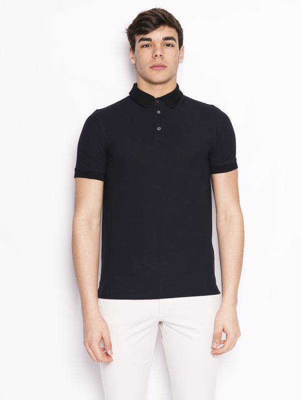 Alpha Studio-Polo con collo in maglia a costine Blu-TRYME Shop