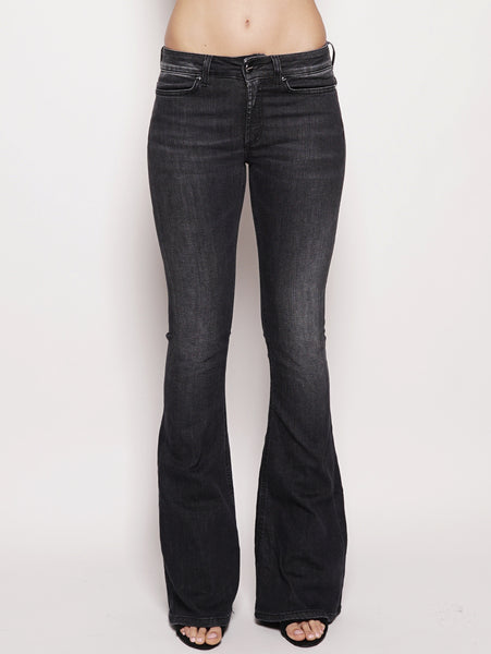 Jeans skinny bootcut in denim stretch Nero