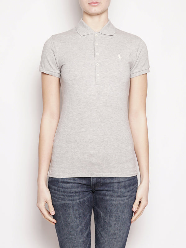 RALPH LAUREN-Polo stretch Slim-Fit Grigio-TRYME Shop
