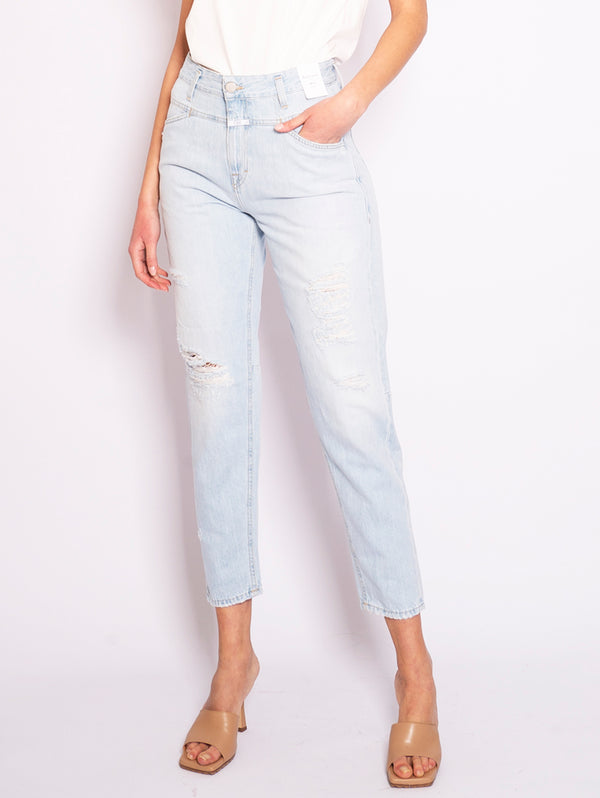 CLOSED-Jeans Relaxed Fit con Strappi Light Blue-TRYME Shop