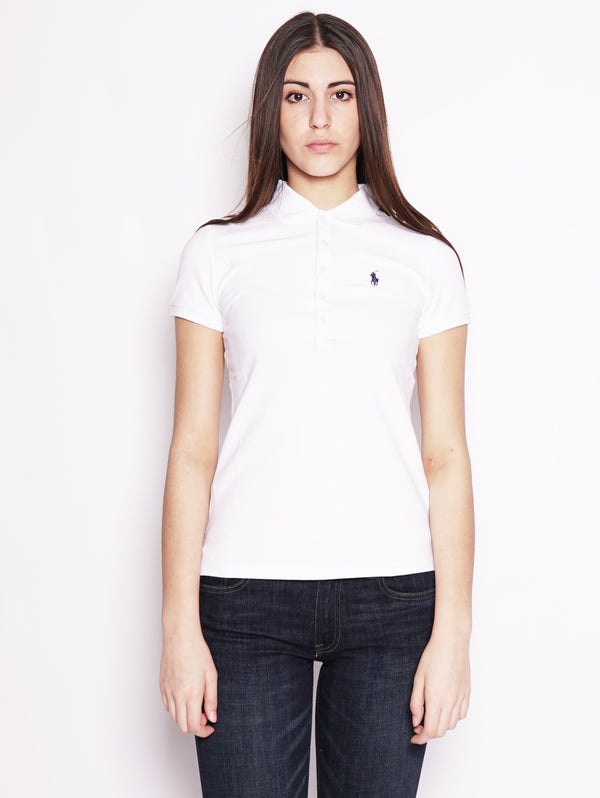 RALPH LAUREN-Polo stretch Slim-Fit Bianco-TRYME Shop