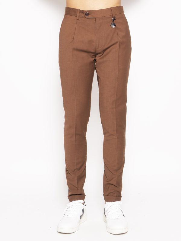 MANUEL RITZ-Pantalone con pinces Marrone-TRYME Shop