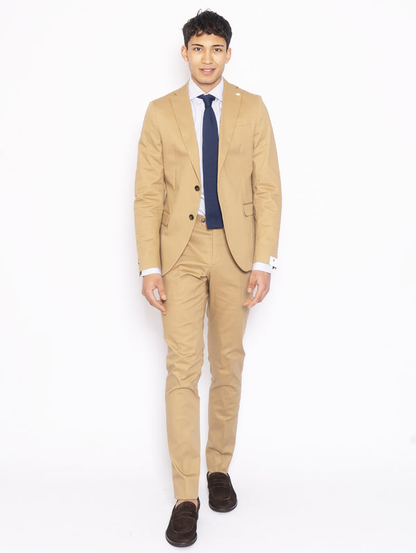 MANUEL RITZ-Abito in Cotone Stretch Beige-TRYME Shop