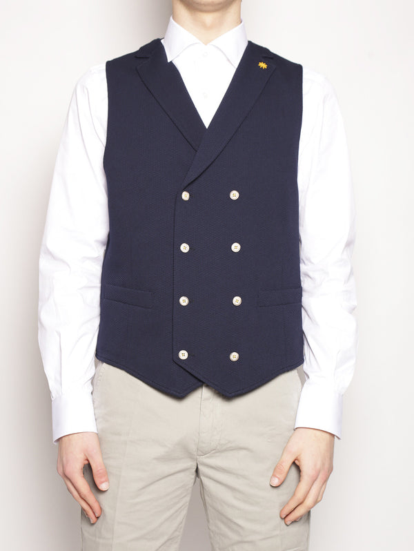MANUEL RITZ-Gilet in jersey stretch Blu-TRYME Shop