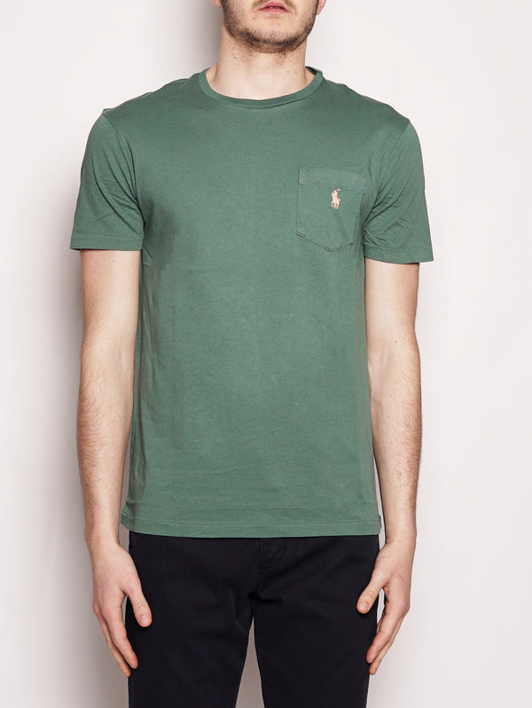 Maglietta in cotone con taschino Custom Slim-Fit Verde-T-shirt-RALPH LAUREN-TRYME Shop