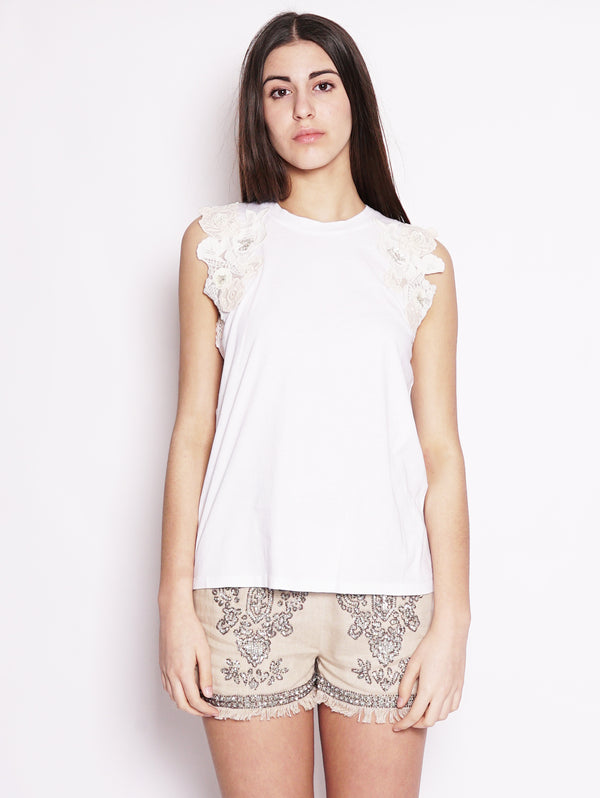 Canotta con patch floreale - 191TT2201 Bianco-Blusa-TWIN SET-TRYME Shop