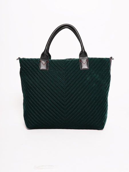 Ararat - Shopping bag in velluto con banda logata di borchie Verde