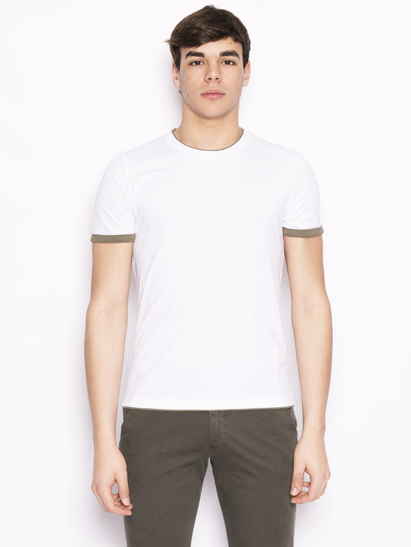 ALPHA STUDIO-T-shirt con Bordi a Contrasto Bianco / Verde-TRYME Shop