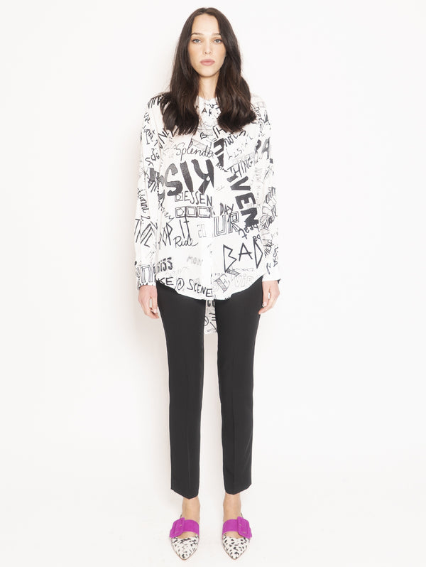 ESSENTIEL-Camicia Over con Stampa Graffiti Viviana Bianco-TRYME Shop