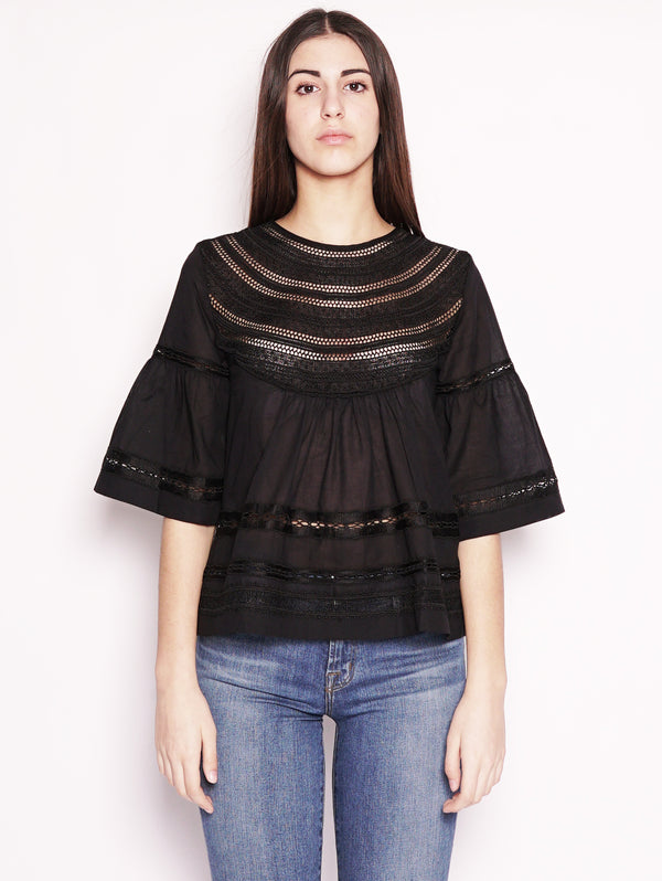 Alpha Studio-Blusa con intarsi in pizzo Nero-TRYME Shop