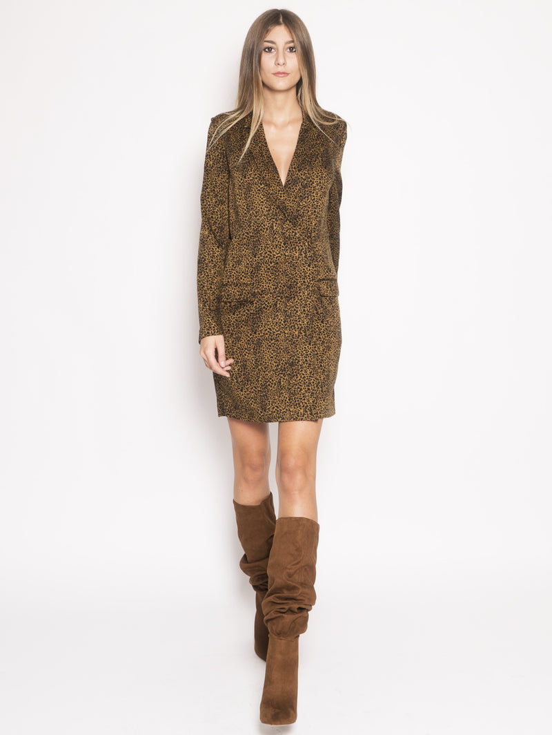 ESSENTIEL-Robe Manteau con Stampa Animalier Marrone-TRYME Shop
