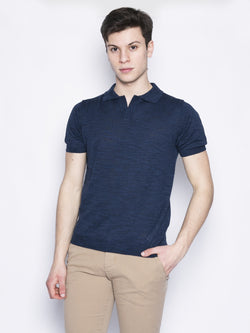 MANUEL RITZ-Polo in misto cotone Blu-TRYME Shop