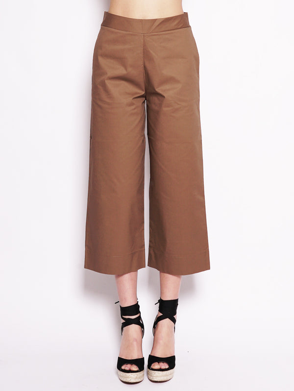 ALPHA STUDIO-Pantalone Cropped Marrone-TRYME Shop