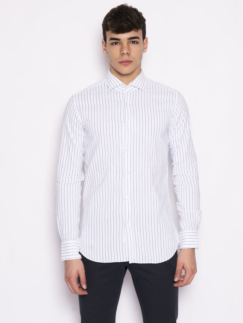 XACUS-Camicia a Righe Bianco-TRYME Shop