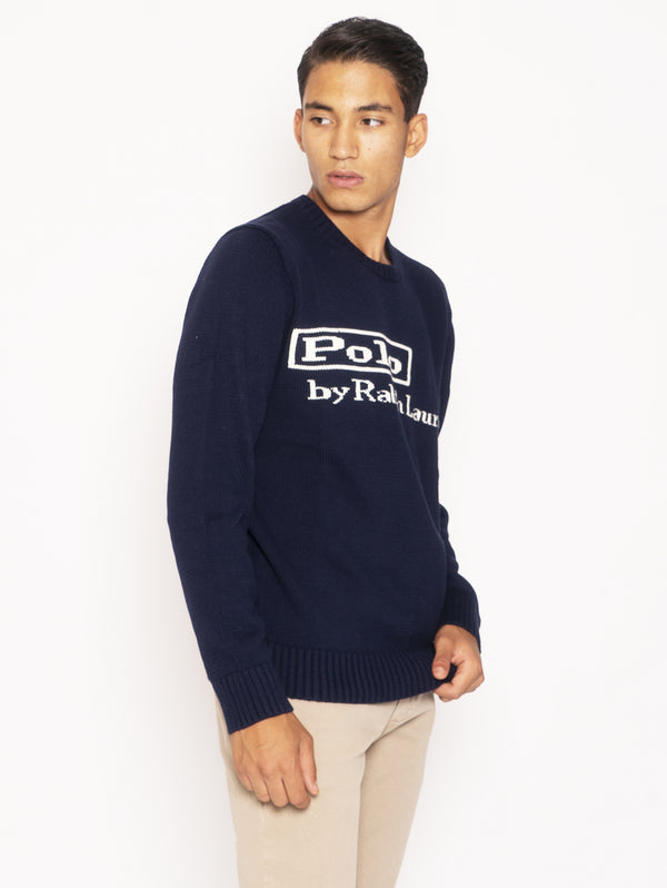 Crewneck Sweater with Embroidery - Blue