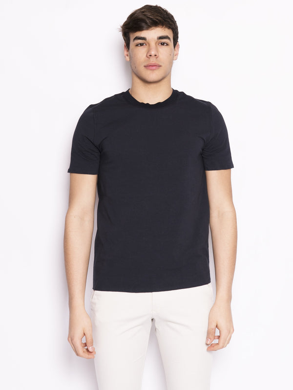ALPHA STUDIO-T-shirt con Collo in Fettuccia Blu-TRYME Shop