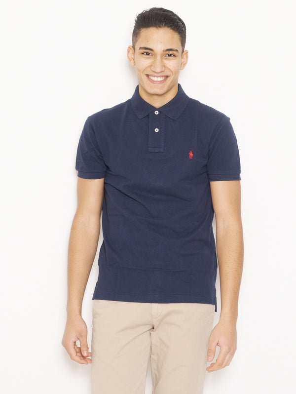 RALPH LAUREN-Polo in Piqué di Cotone Slim FIt Blu-TRYME Shop