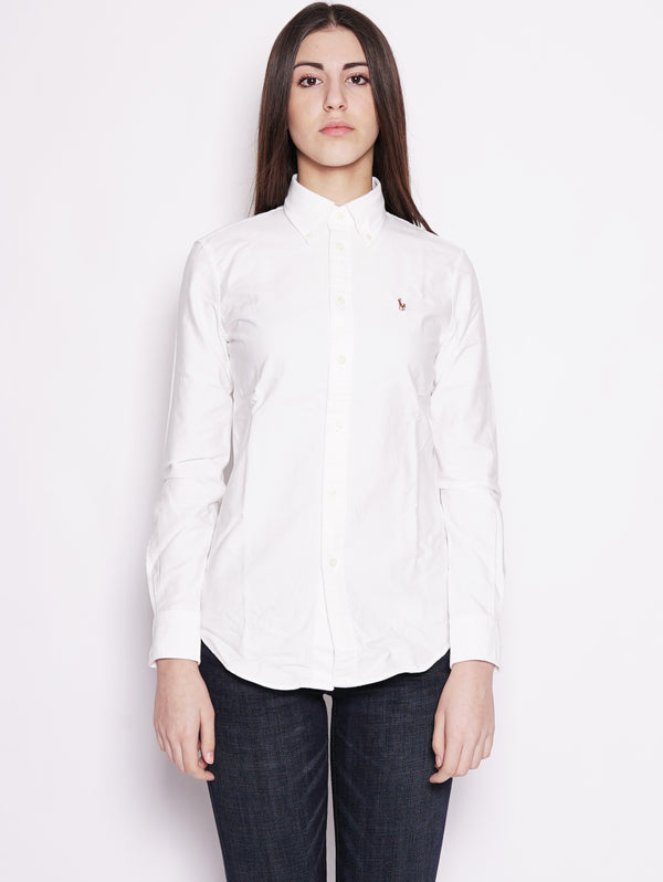 Camicia Oxford in cotone Custom-Fit Bianco-Camicie-RALPH LAUREN-TRYME Shop