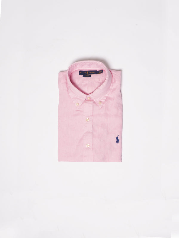 RALPH LAUREN-Camicia in Lino Slim Fit Rosa-TRYME Shop