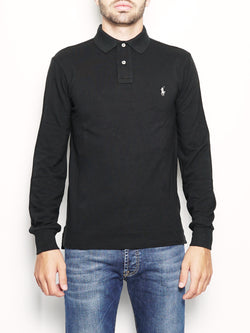 RALPH LAUREN-Polo Slim-Fit a maniche lunghe Nero-TRYME Shop