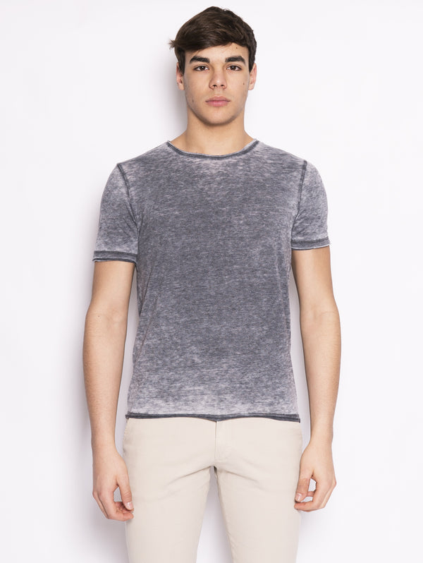 ALPHA STUDIO-T-shirt in Cotone Fiammato Blu-TRYME Shop