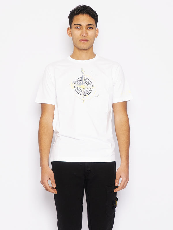 STONE ISLAND-T-shirt con Stampa Logo Bianco-TRYME Shop