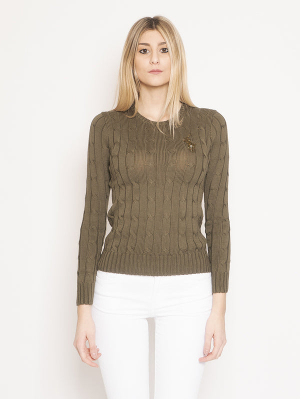 RALPH LAUREN-Maglia in Pima Cotton con Pony con Perline Verde-TRYME Shop