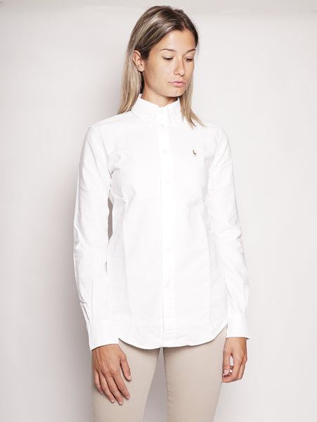 Camicia Oxford in cotone Custom-Fit Bianco