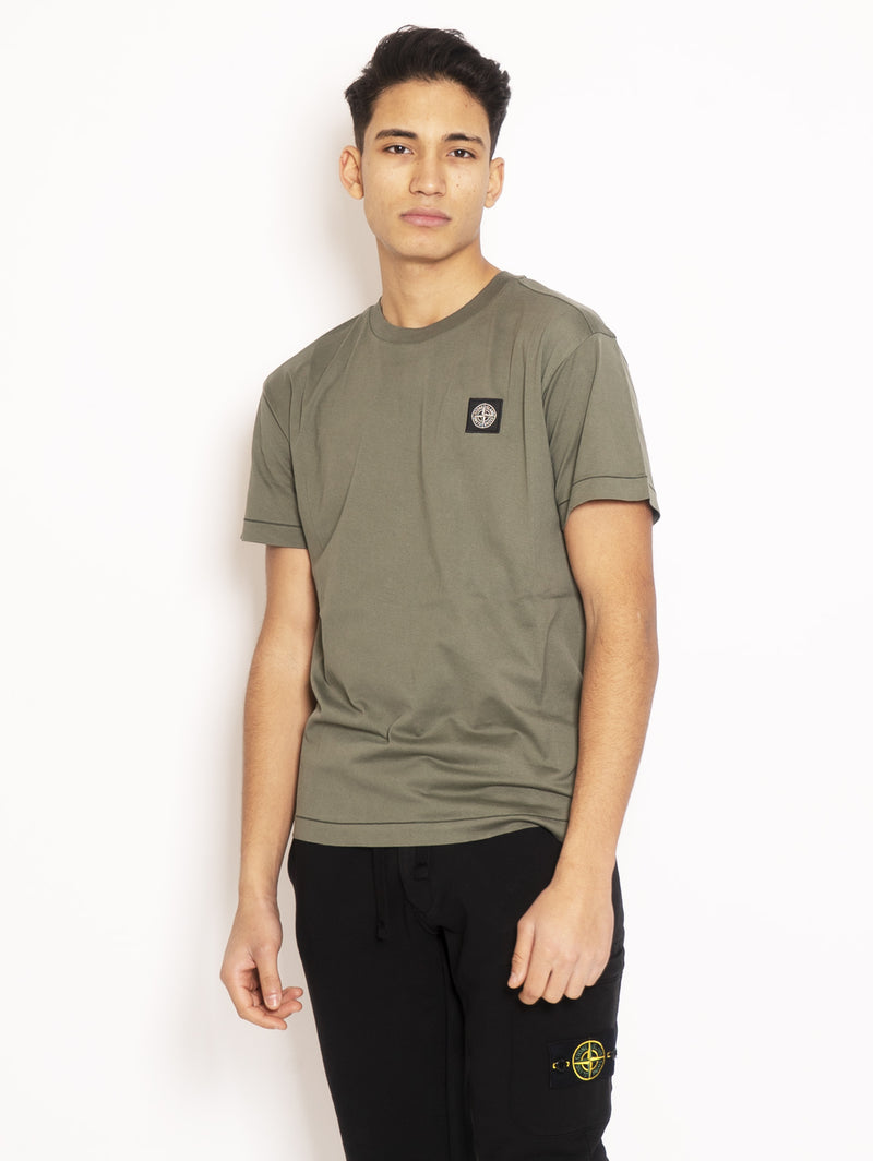 STONE ISLAND-T-shirt in Jersey di Cotone Verde-TRYME Shop