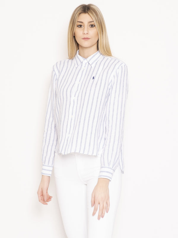 RALPH LAUREN-Camicia in Lino a Righe Bianco-TRYME Shop